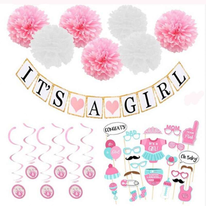 Birthday Hanging Swirl Decoration Its A Girl Photo Booth Props Shower Baby Banner Set