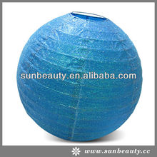 Sunbeauty Brand New Graceful Shinning Blue Paper Lantern for Wedding Decorations