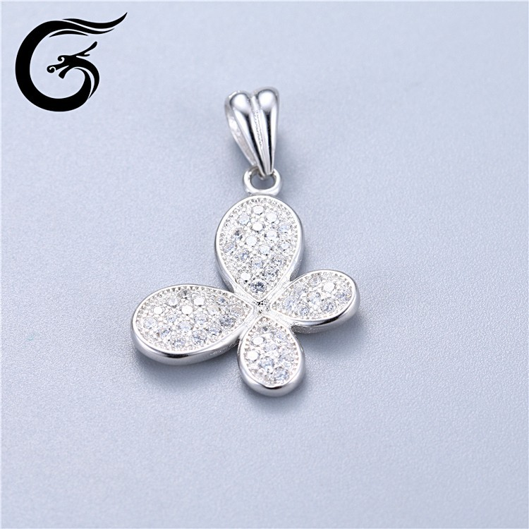 platinum butterfly cz pendant 925 sterling silver jewelry wholesale thailand