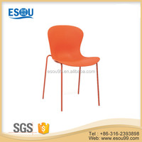 home furniture red pp plastic mental tube coating dining room chair