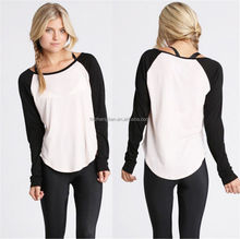 Sexy Womens Autumn Casual Long Sleeve Colorblocked Baseball T-Shirt Blouse Tops