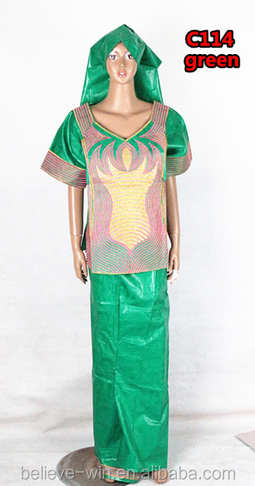 Hot sale guinea brocade women dress design of <strong>C114</strong> green