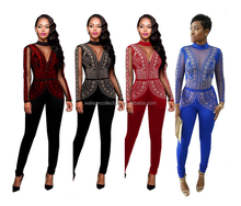 2017 Fashion Lady Women Jumpsuit&Romper Clubwear Playsuit Bodycon Party Trousers Long Sleeve Lace