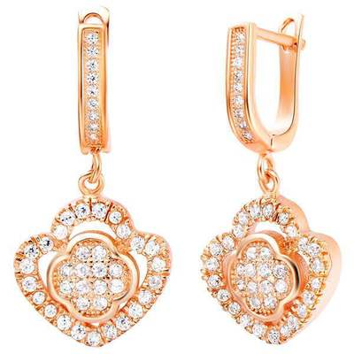 Fashion earrings rose gold heart 18k platinum plated round earring Ulove flower micro pave zircon pendent earring factory