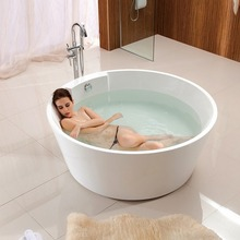 145cm cheap white acrylic soaking bathtub round freestanding tub
