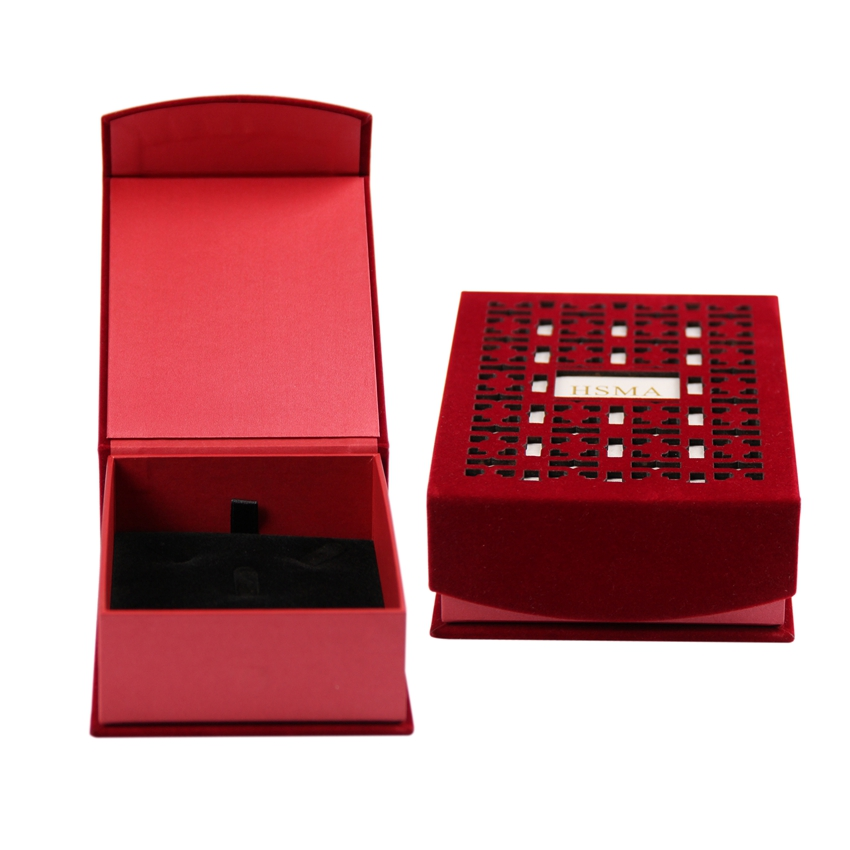 Custom high-end magnetic mens jewelry packaging box with foam insert