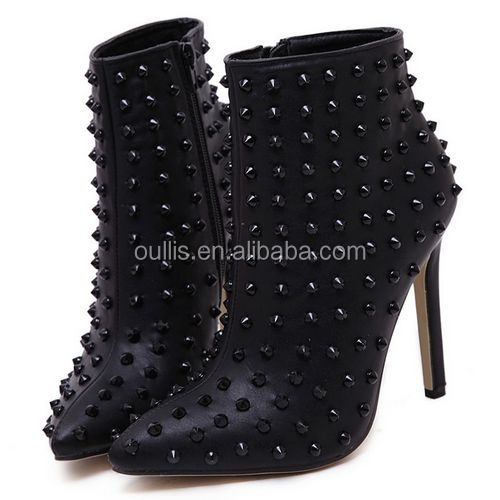 2017 bulk wholsale women shoes ankle boots with rivet high quality boots PJ3998