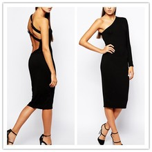 Wholesale Dresses India Design 2015 Black One Shoulder Sexy Midi Dress NT6085