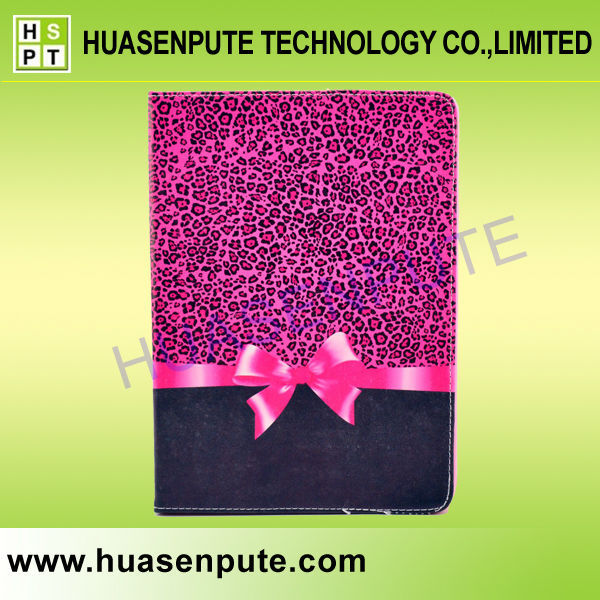 Pink Leopard With Bow Print Flip Leather Cases For iPad Air 2