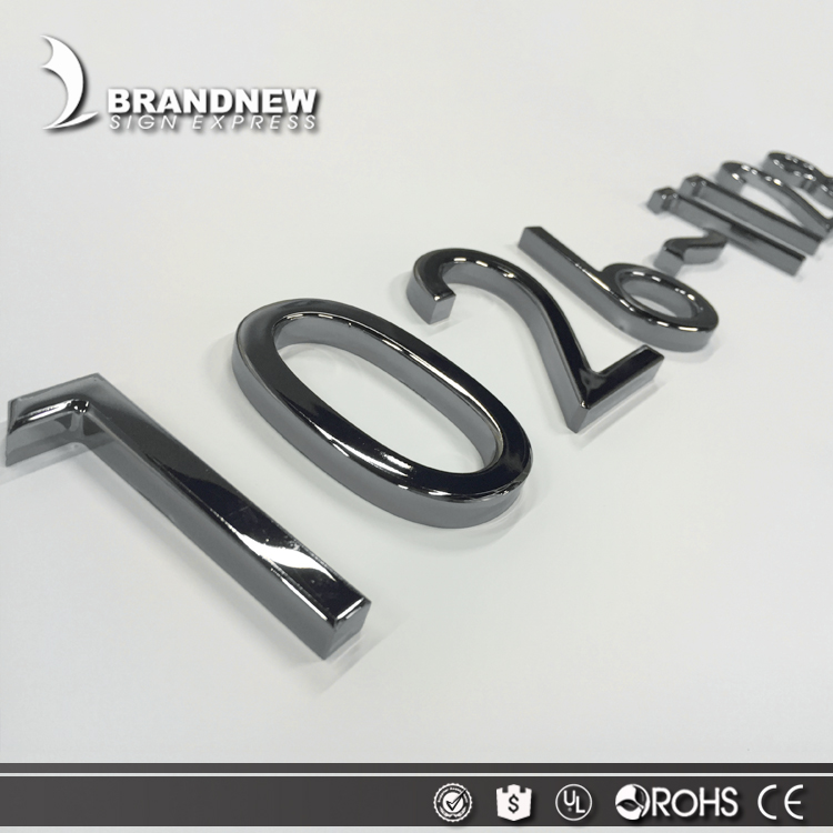 Luxury vision effect indoor decoration chrome number sign hotel room number signs