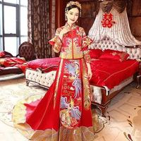 New Chinese bridal gown, bridal gown, dragon & phoenix mandarin jacket
