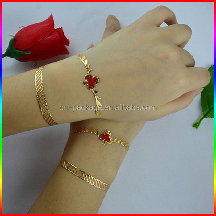 hand bracelet 3D flash temporary tattoo stickers/gold and red