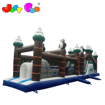 winter penguin theme  inflatable slide obstacle courses for kids n adults