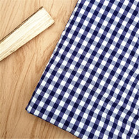 Wholesale ployester cotton shirting poplin fabric yarn dyed blue and white plaid product