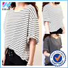Trade Assurance Yihao Fashion Latest Woman Girl Stripe Loose Lady O-neck Blouse Top 2016