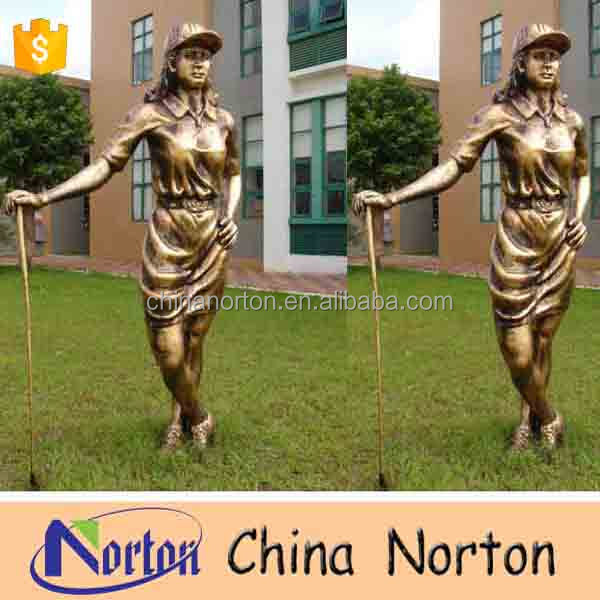 Modern life size garden imitation golf playing resin woman statue NT-FSB068