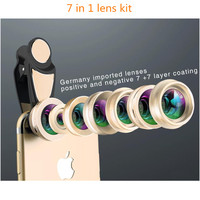 Camera Phone lens kit 7 in1 wide angle lens 2x telephoto zoom 198 degree fisheye for IPhone 7 Mobile Phone Camera Lens