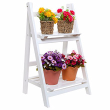 Garden Furniture Outdoor Wood 2 Tier Plant Stand