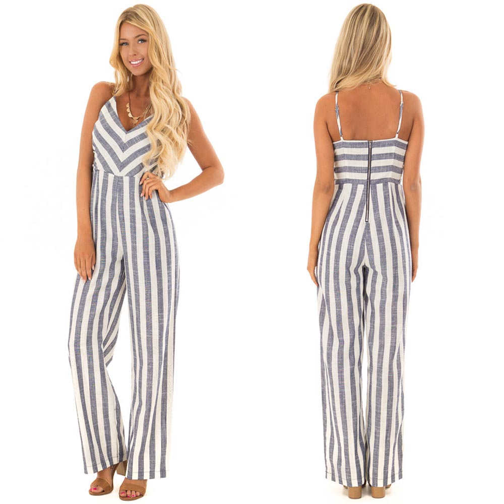 Latest Summer Design strap Rompers Ladies striped Jumpsuit Women with side cut out