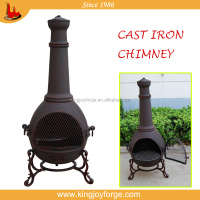 cast iron copper finished chiminea / outdoor fireplace