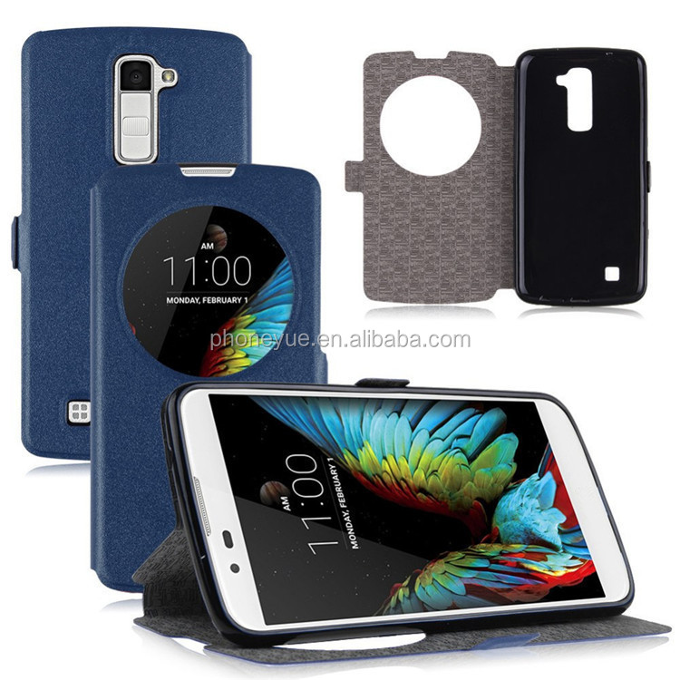 Magnetic Buckle Window View Phone Stand Holder Flip Leather Case Cover for LG G2