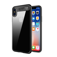 For iPhone x clear cover transparent hard pc back soft tpu edge protective mobile phone case for iphone x