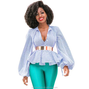 1107-1 Latest Design african v-neck printed stripes lantern sleeve blouses for sexy women wholesale