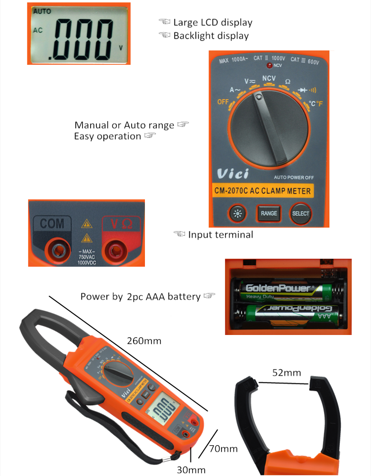 CM-2070C 3 1/2 digits power factor clamp meter with torch and backlight peakmeter