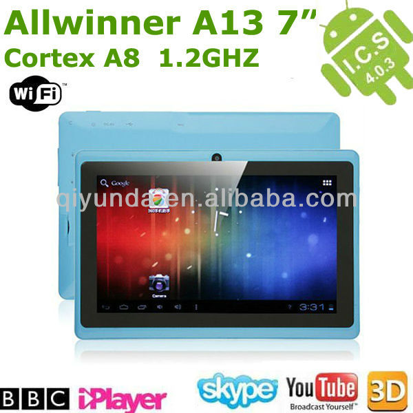 7 inch A13 android 4.0 tablet pc front 0.3mp camera