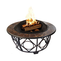 garden round tile top table fire pit