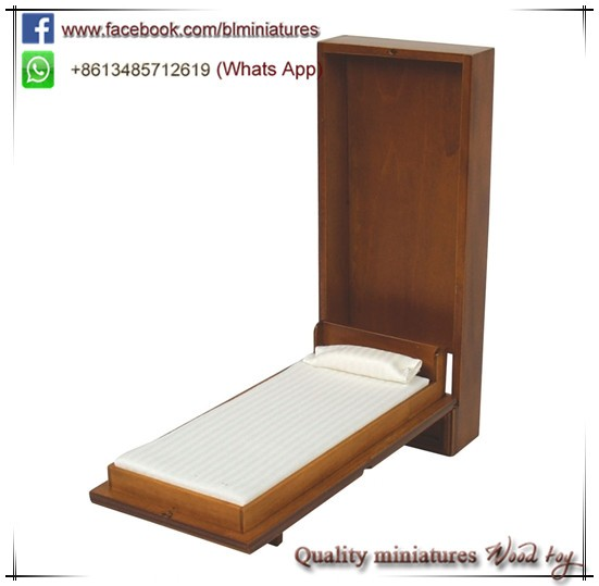 Miniature Dollhouse 1:12 Scale Single Murphy Bed Toys for Toddlers Doll Houses For Sale