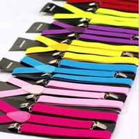 Factory Supply 25mm Adjustable Slim Unisex Men Ladies Trouser Suspender Braces Suspenders Fancy Dress Clip On 29 colors
