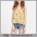 Newest designs garment Factory wholesale stylish girls Yellow sleeveless Keyhole Tie Back Floral Striped tank top