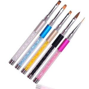 Nail Art Acrylic Rhinestones Handle Painting Liner Pen Drawing Dotting Brush Kit With Cap