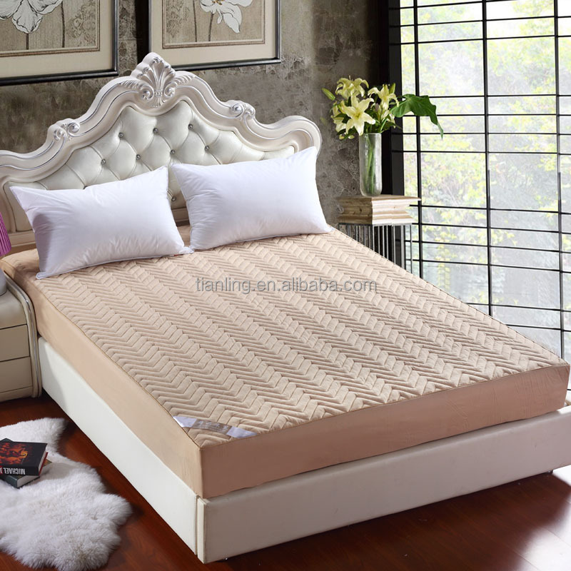 100% Cotton Quilted Mattress Cover with Zipper Or Elastic