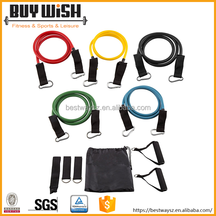 11PCS latex resistance bands gym exercise set hot selling