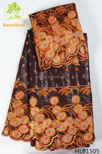 High quality african design rich bazin 100 cotton guinea brocade jacquard fabric with beads HLB15