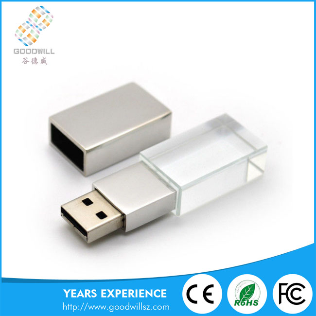 Hot Selling Metal Material Transparent 3D Customized Laser Engraving Logo USB 2.0 Crystal Glass USB Flash DRIVE