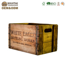 Wahtai Personalised Old Style Wooden Crate With Metal Corner And Cut Out Handle