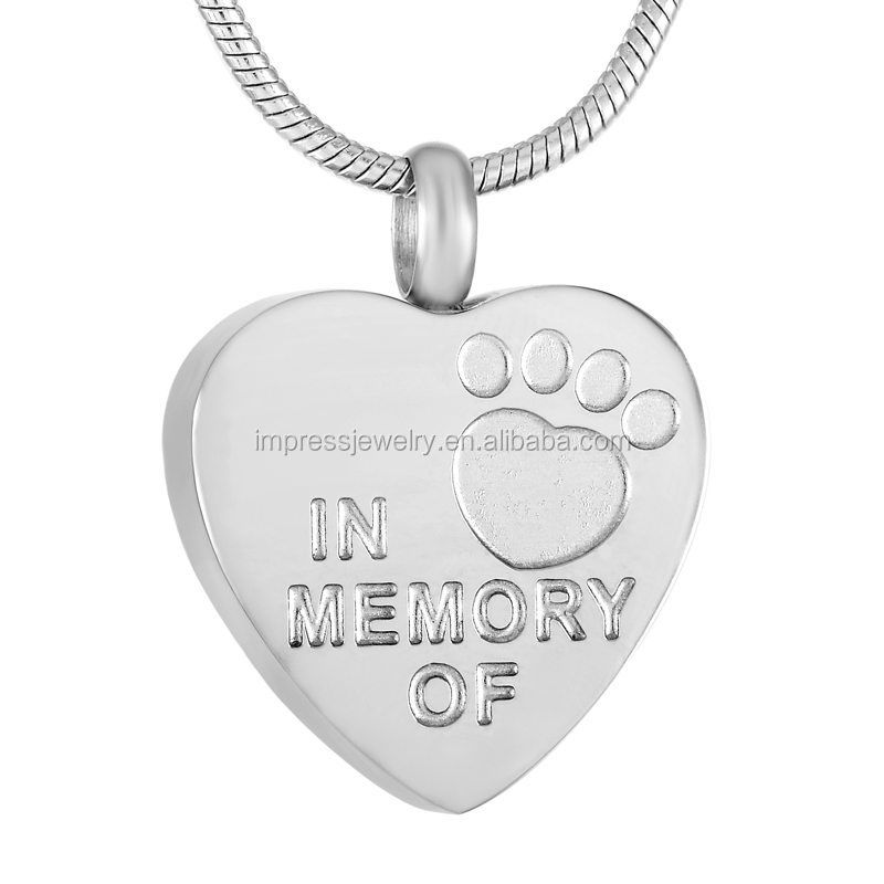 IJD9305 Animal Funeral keepsake IN MEMORY OF Paw Print Cremation Urn Jewelry Heart Stainless steel Pet ashes pendant