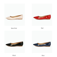 MK081-3 colorful cow patent leather pointed toe ladies leather fiat ladies shoes