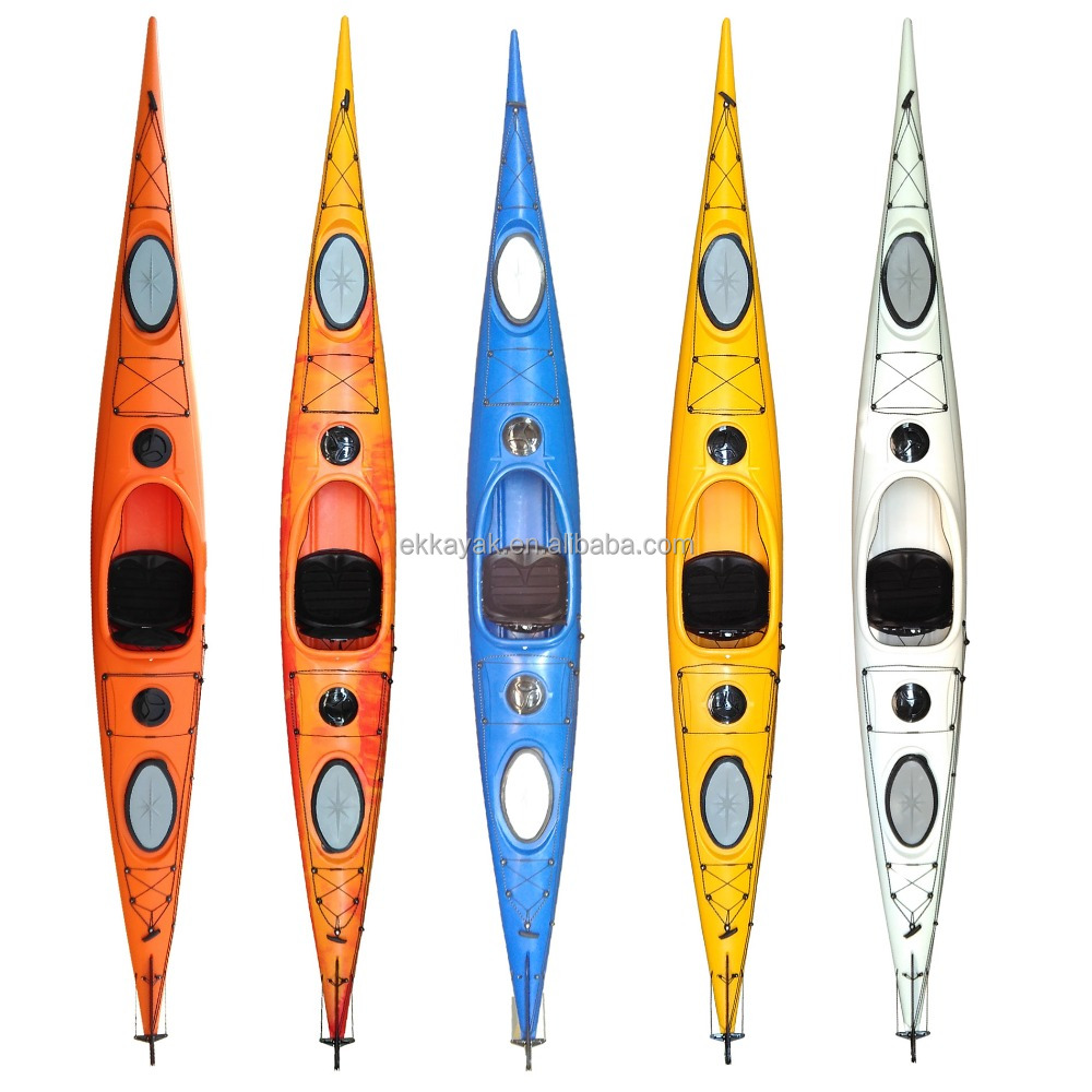 Fast speed and steady 486 cm length racing plastic kayak boat