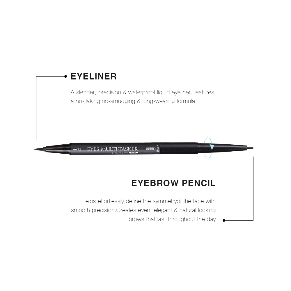Menow Eye Pencil 2 in 1 Liquid Eyeliner with Plastic Eyebrow