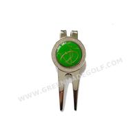 Green golf repair tool with epoxy logo ball marker