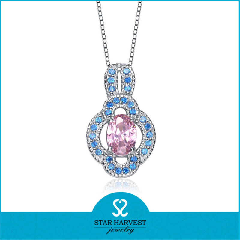 Guangdong Factory Pink Crystal Diamond Sterling Silver Charm Pendant