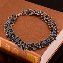 Fashion European Style Smart Flowers Chrysanthemums for Famale Party Wedding gift Crystal Women Choker Necklace Jewelry