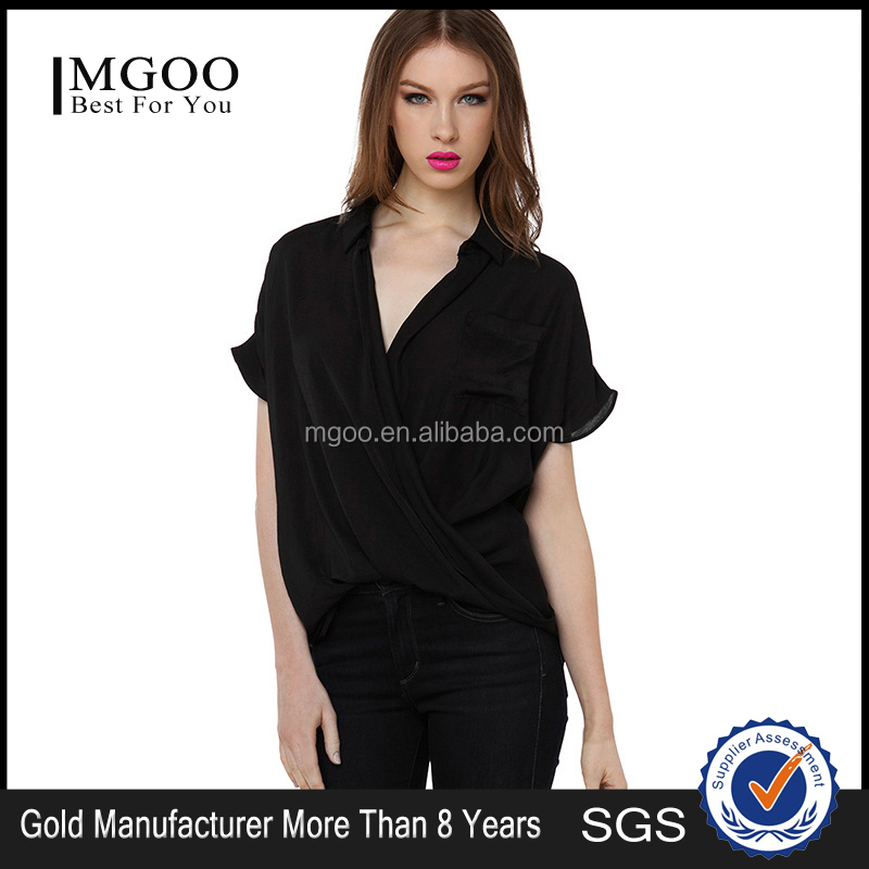 MGOO 2015 High Quality Women Sexy Black Blouses Plain Chiffon v Neck Loose Fashion Tops 15121A770