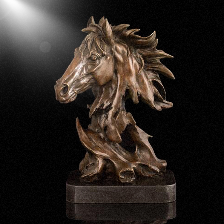 Horse head bronze polyresin animal crafts for indoor decoration