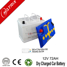 Matrix brand dry charge car battery din72 12v 72ah European Standard