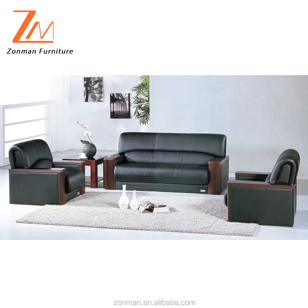 Classic design genuine leather business sofa with wooden legs and arms